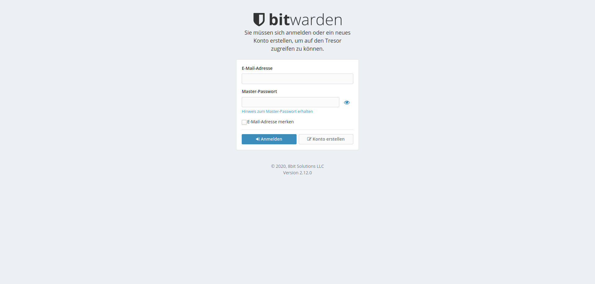 Passwort-Manager Bitwarden User-Login